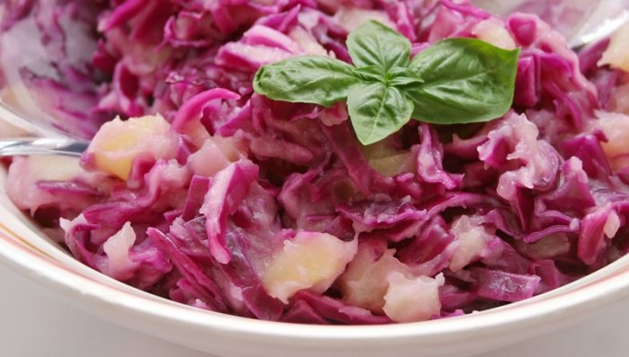 Ein Rotkohlsalat ist lecker, gut für die Linie und eignet sich als Vorspeise oder als Beilage. Foto: © sil007 - Fotolia.com