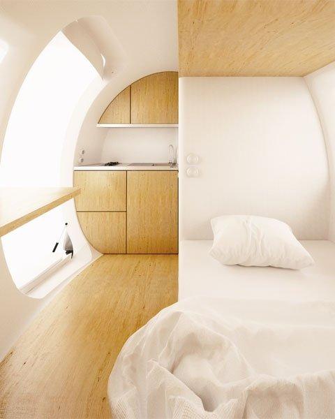 bild 2 autark leben mit stilvollem design in der ecocapsule. Black Bedroom Furniture Sets. Home Design Ideas