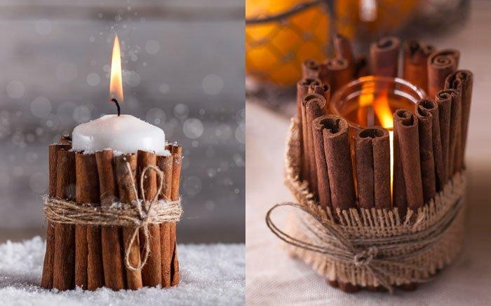 weihnachtsdeko selber machen kerze mit zimtmantel zum basteln. Black Bedroom Furniture Sets. Home Design Ideas
