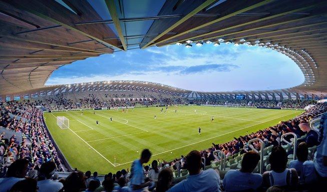 An diesem Fussballstadion ist viel mehr grün als nur der Rasen