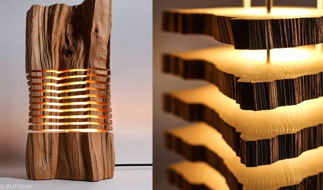 Lampen-Unikate aus Fundstücken: Diese Designs setzen Holz in Szene
