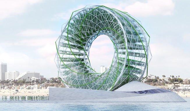 Ein Riesenrad produziert Gemüse und Trinkwasser mitten im Meer