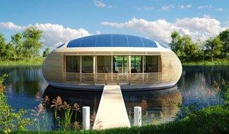 Wohnen auf dem Wasser im recyclebaren Design-Hausboot