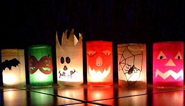 Halloween basteln gruselige tischdekoration aus gl sern - Tischdekoration halloween ...
