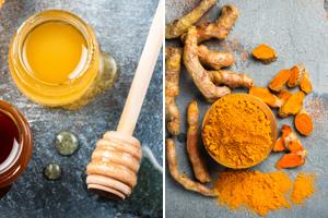 Honig und Kurkuma, die wie natürliche Antibiotika wirken