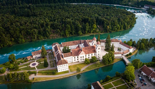 Insel Rheinau in der Rheinschlaufe Mit Kloster Rheinau
