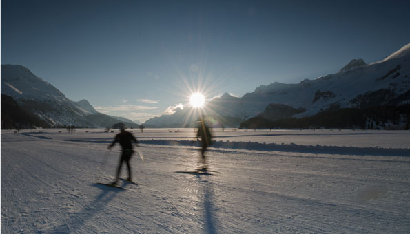 Loipen im Engadin: Unterwegs auf der Strecke des Engadin Skimarathon