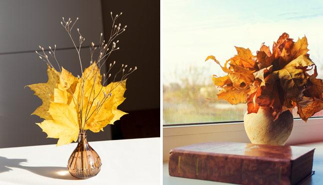 Blaetter in einer Vase