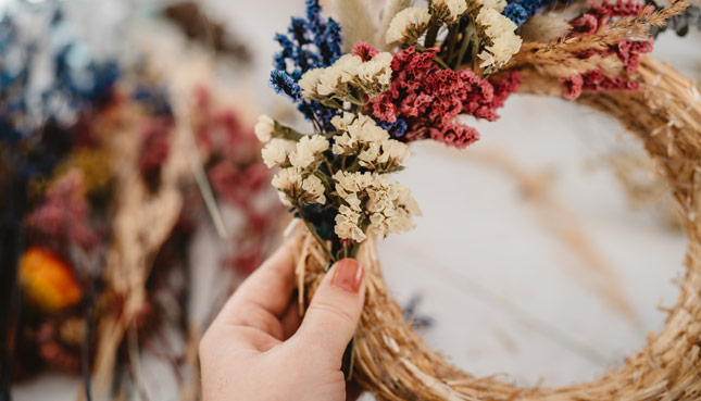 Kranz mit Trockenblumen