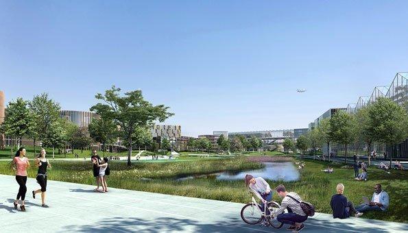 Parks und Seen gehören zum Konzept vom Büro der Zukunft