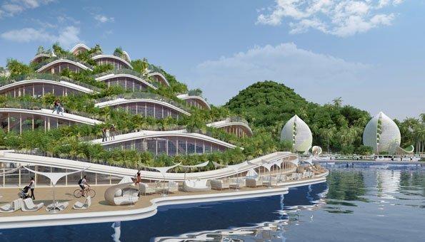 Im Resort wird eigene Nahrung angebaut, zum Beispiel auf Balkonen und Dächern.