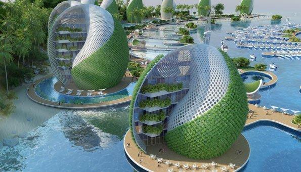 Bei der Natur abgeschaut: Viele Gebäude sehen aus wie Schneckenhäuser.