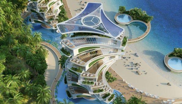 Viele Dächer im Eco-Resort sind mit Solaranlagen ausgestattet.