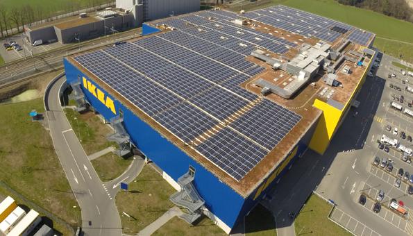 Blick auf das Ikea Gebäude in Rothenburg
