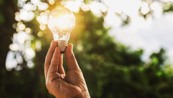 Hand hält Glühbirne als Symbol für nachhaltige Energie