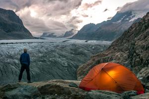 Aletschgletscher als Symbol für Klimaerwärmung und Klimaschutz