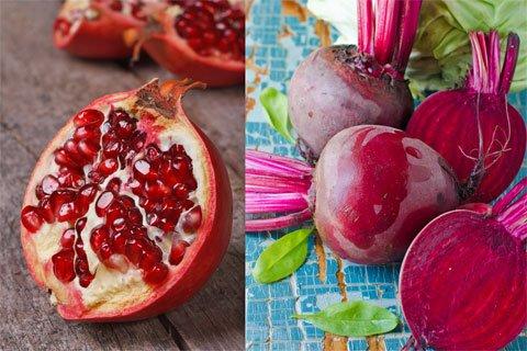 Gesunde Lebensmittel: Granatapfel vs. Randen