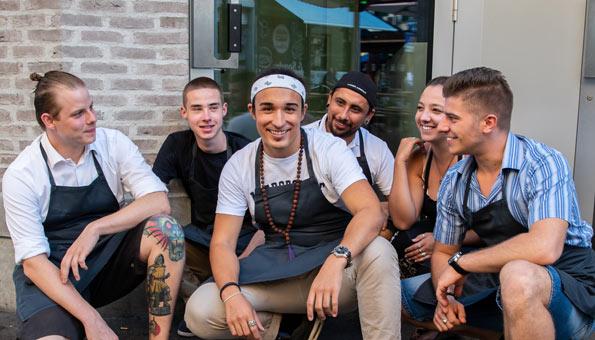 Das Team vom Restaurant Anoah in Zürich mit Noah Rechsteiner
