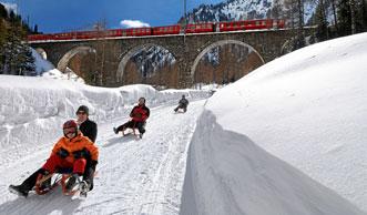 Preda-Bergün: Schlitteln auf einer der beliebtesten Schlittelbahnen Europas