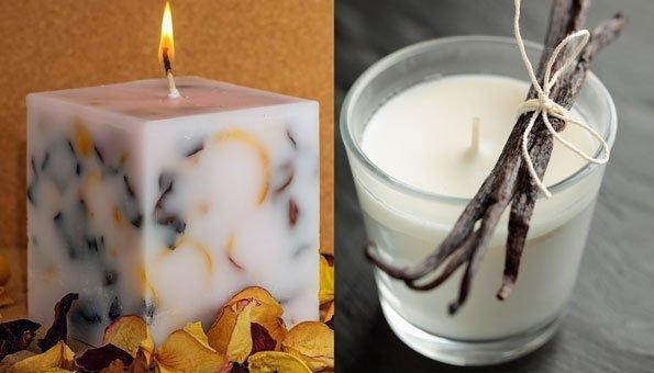 Als kleine Extras können Sie Ihren Kerzen unter anderem einen Duft oder bunte Blütenblätter zugeben.