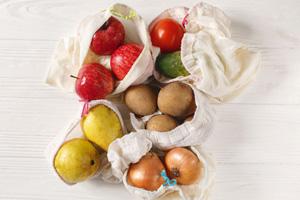 Last-Minute-Geschenke: Coole Ideen für nachhaltiges Schenken. Früchte- und Gemüsebeutel.