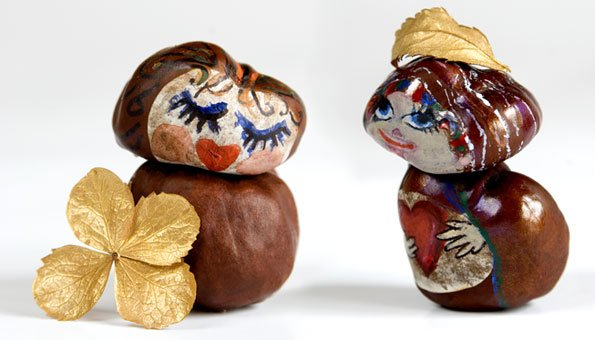Coole figuren aus kastanien basteln for Herbstdeko basteln naturmaterialien