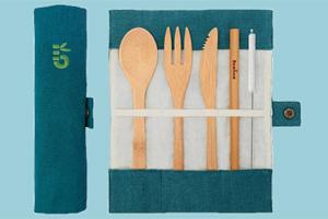 5 Mehrweg-Besteck-Sets aus Bambus gewinnen