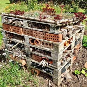 Ein Insektenhotel im Garten fördert die Artenvielfalt in der Permakultur