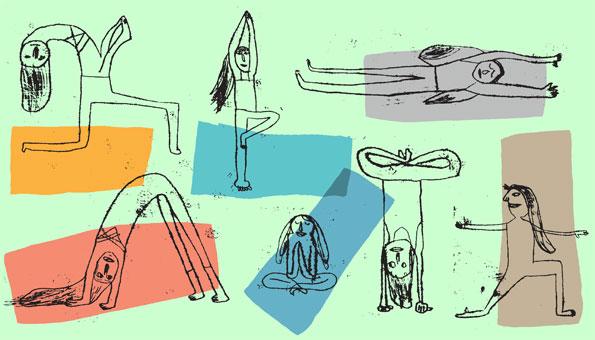 Menschen in Skizzenform zeigen verschiedene Yoga-Übungen