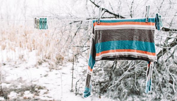 Wäsche im Winter frosttrocknen