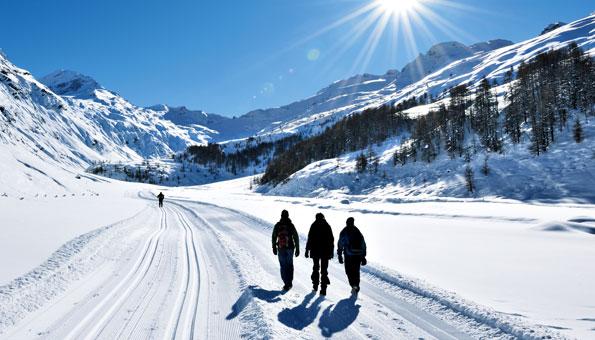 Spaziergänger in verschneiter Landschaft.