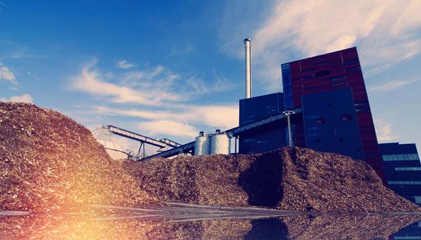 Biomasse vor einer Biogasanlage wird zu Bioenergie verarbeitet.