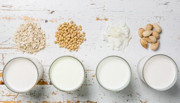 Hafermilch, Sojamilch, Kokosmilch und Mandelmilch in Gläsern.