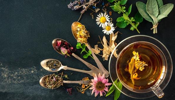 Getrockneter Tee auf Löffeln präsentiert neben einem Glas mit Tee