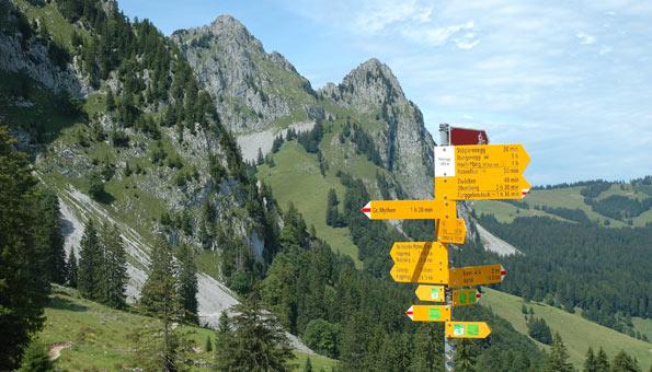 Wegweiser in der Zentralschweiz.