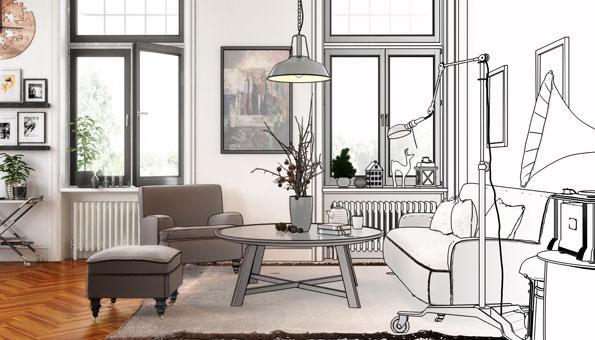 Wohnung einrichten mit Skizze und Einrichtungsideen