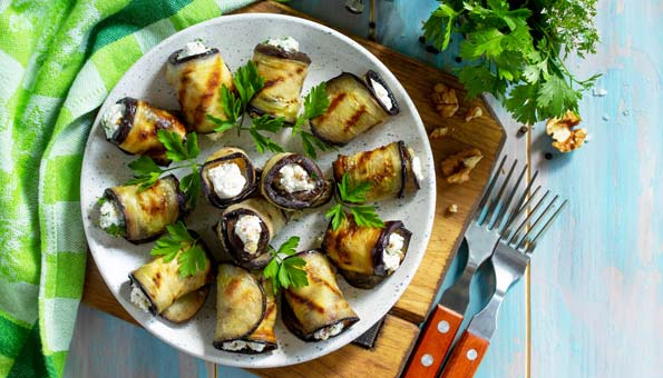 Aubergine Grillen: Rezept mit Frischkäse
