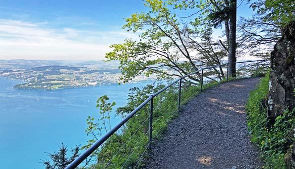 Felsenweg am Bürgenstock hoch über dem Vierwaldstättersee