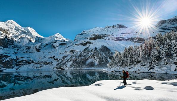 Schneeschuhwandern bei Kandersteg am Öschinensee