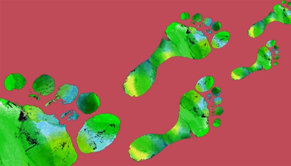 Der ökologische Fussabdruck dargestellt mit Fussabdrücken.