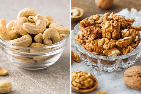 Gesunde Lebensmittel: Cashewkerne, Baumnüsse und Kürbiskerne