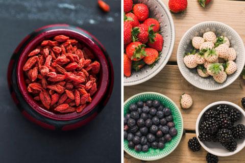 Gesunde Lebensmittel: Gojibeeren, Arojabeeren und Beerenobst