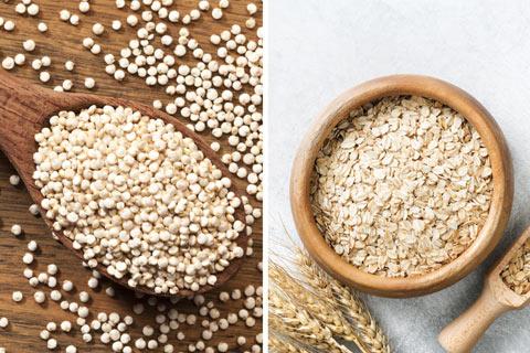 Gesunde Lebensmittel: Quinoa, Amaranth und Haferflocken
